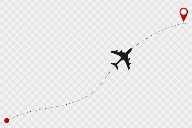 Karte mit flugzeugspur. Premium Vektoren