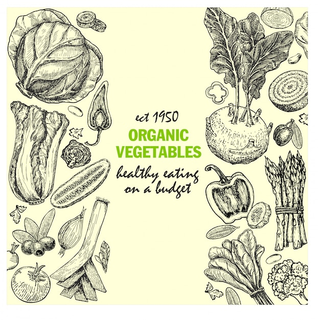 Karte mit tinte handgezeichnetes gemüse und gewürzskizze. vintage gesunde lebensmittelillustration. bio-gemüse Premium Vektoren