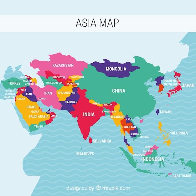 Karte von Asien-Kontinent mit verschiedenen Farben Kostenlose Vektoren
