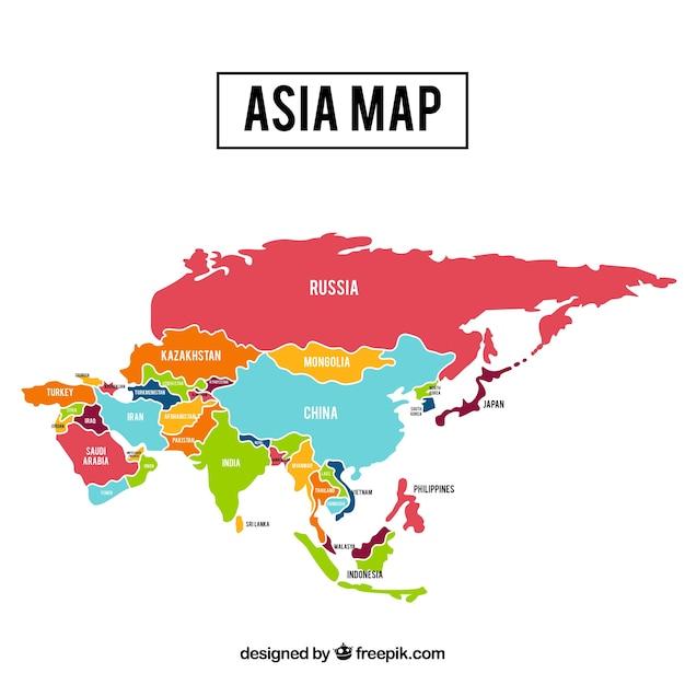 Karte von asien-kontinent mit verschiedenen farben Kostenlosen Vektoren