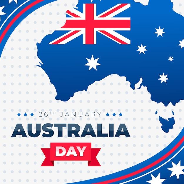 Karte von australien mit flachem design der flagge Premium Vektoren