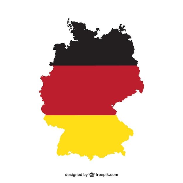 Karte von deutschland und nationalfarben Premium Vektoren