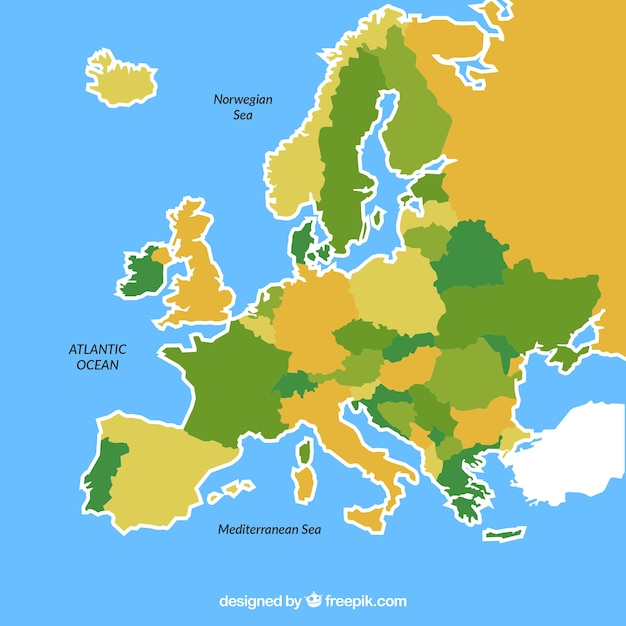 Karte von europa mit farben in der flachen art Kostenlosen Vektoren