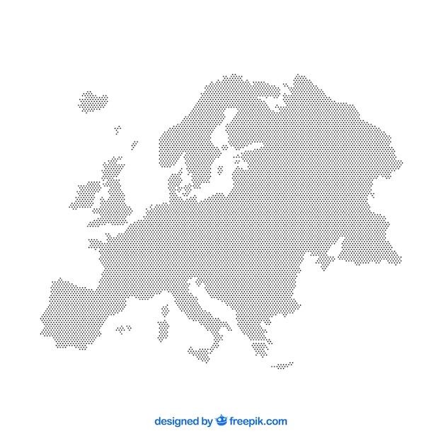 Karte von europa mit punkten in der flachen art Kostenlosen Vektoren