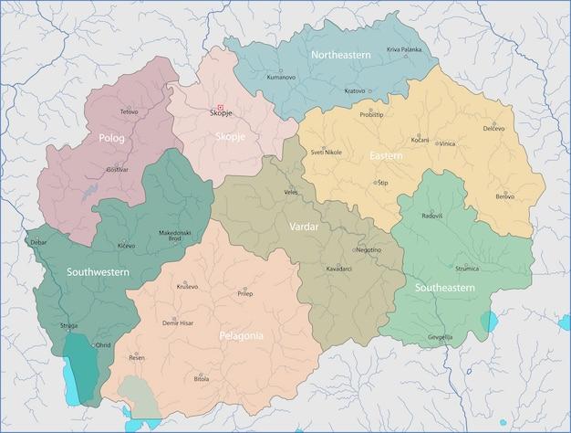 Mazedonien Karte.Karte Von Mazedonien Download Der Premium Vektor