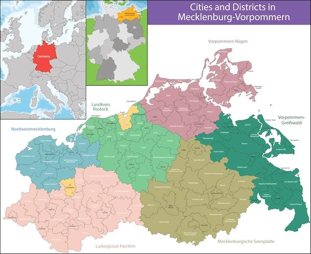 Karte Von Mecklenburg Vorpommern Premium Vektor