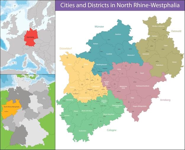 Nordrhein Westfalen Karte.Karte Von Nordrhein Westfalen Download Der Premium Vektor