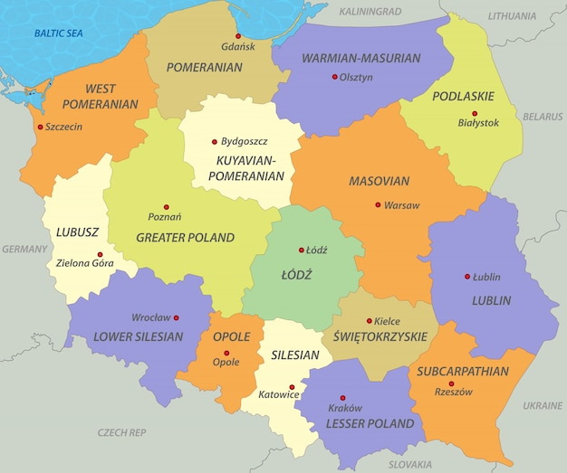Polen Karte.Karte Von Polen Download Der Premium Vektor