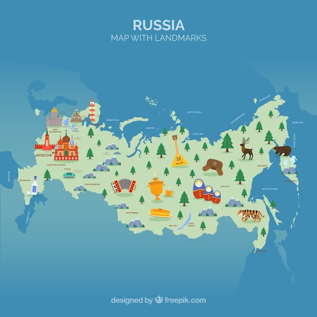 Karte von russland mit sehenswürdigkeiten Kostenlosen Vektoren