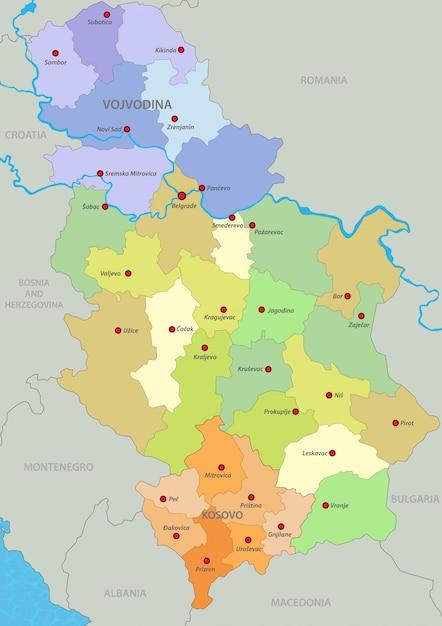 Karte Von Serbien Premium Vektor