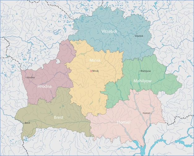 Karte Von Weissrussland Premium Vektor