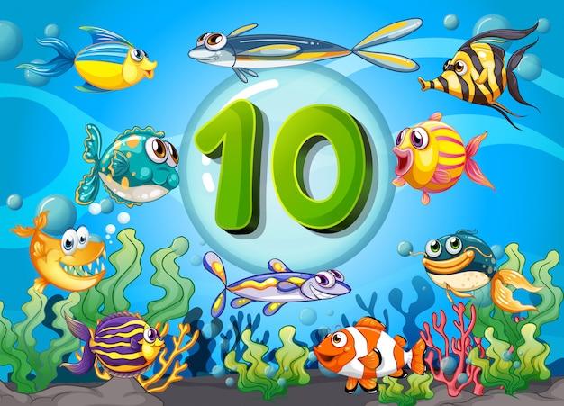 Karteikarte nummer zehn mit 10 fischen unter wasser Kostenlosen Vektoren