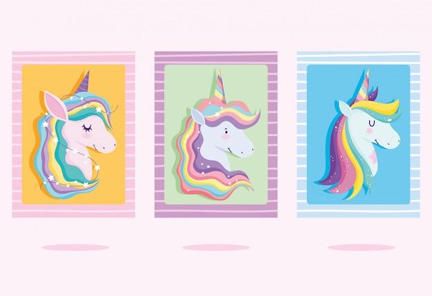 Karten mit einhörnern mit regenbogenhaar Premium Vektoren