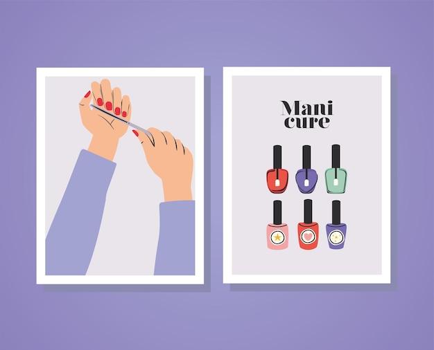 Karten mit maniküre-schriftzügen und händen mit roten nägeln, einer nagelfeile und einem satz politurflaschen Premium Vektoren