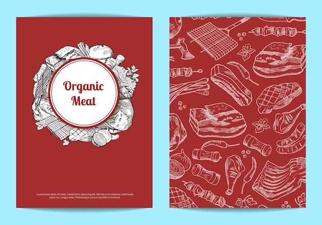 Karten- oder fliegerschablone mit hand gezeichneten einfarbigen fleischelementen für metzgerei Premium Vektoren