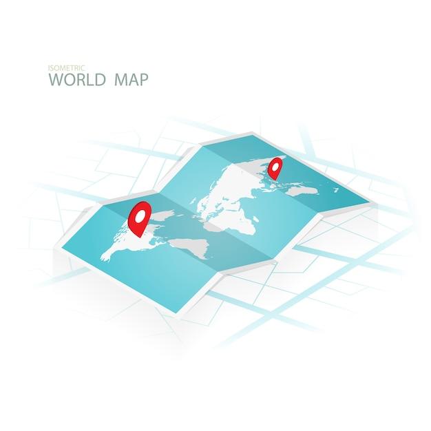 Karten u. navigation isometrisch, wolrd kartenvektor Premium Vektoren