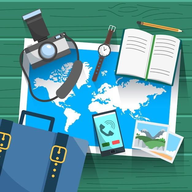 Karten- und reiseelemente mit flachem design Kostenlosen Vektoren