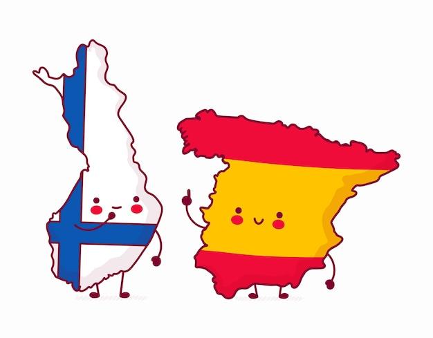 Kartenabbildungen für finnland und spanien Premium Vektoren