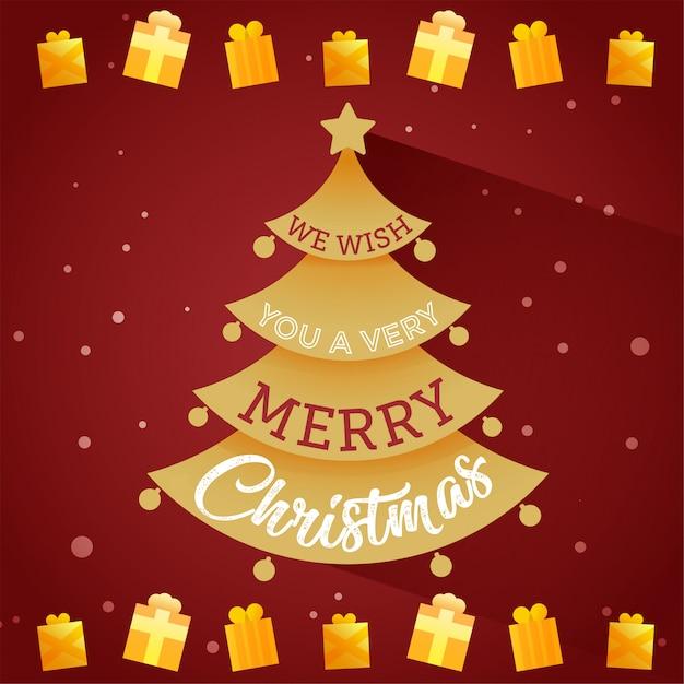 Kartenbaum mit frohen weihnachten Premium Vektoren