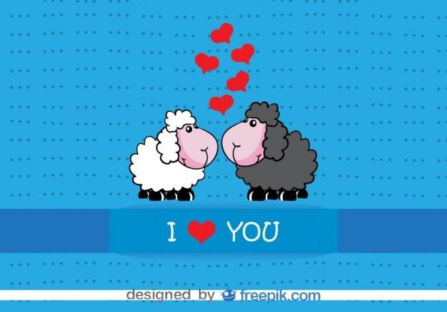 Kartendesign cartoon schafe küssen valentinstag Kostenlosen Vektoren