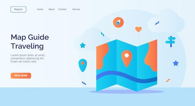 Kartenführer reise icon kampagne für web-homepage homepage landing template banner mit cartoon flat style. Premium Vektoren