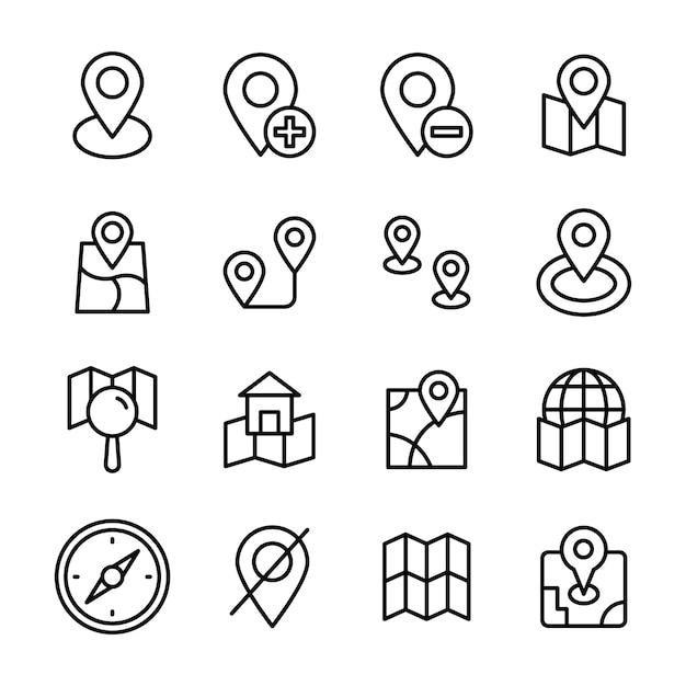 Kartennavigationslinie icons pack Premium Vektoren