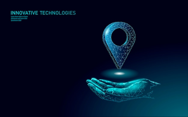 Kartenpunkt standortgeschäftssymbol. polygonale lieferung der realistischen ikone weltweit planet. versand online-einkaufsrichtung stadt adresse position pin Premium Vektoren