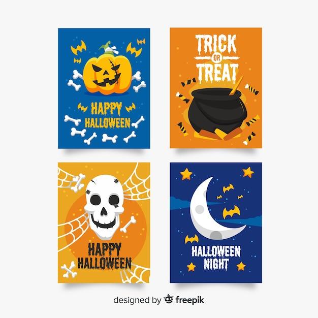 Kartensammlung mit halloween-horrorelementen Kostenlosen Vektoren