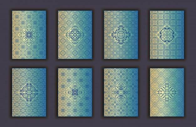 Kartensatz mit dekorativen elementen hintergrund der mosaikspitze Premium Vektoren