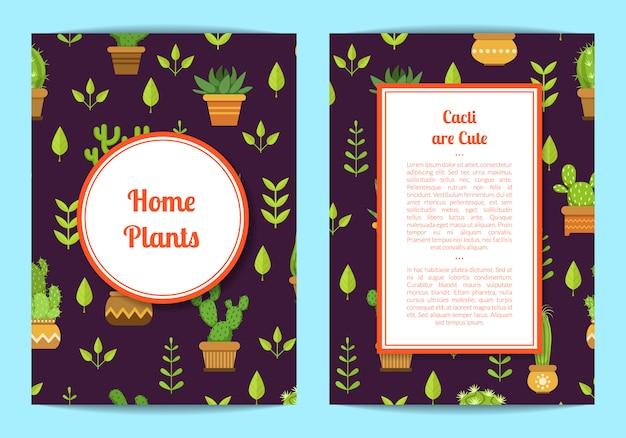 Kartenschablone mit beschriftung, kakteen in den töpfen, gestalteter kreis und rechteck mit platz für text Premium Vektoren