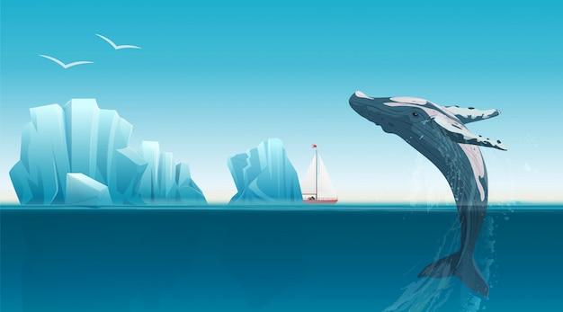 Kartenschablone mit dem wal, der unter die blaue ozeanoberfläche nahe eisbergen springt. Premium Vektoren