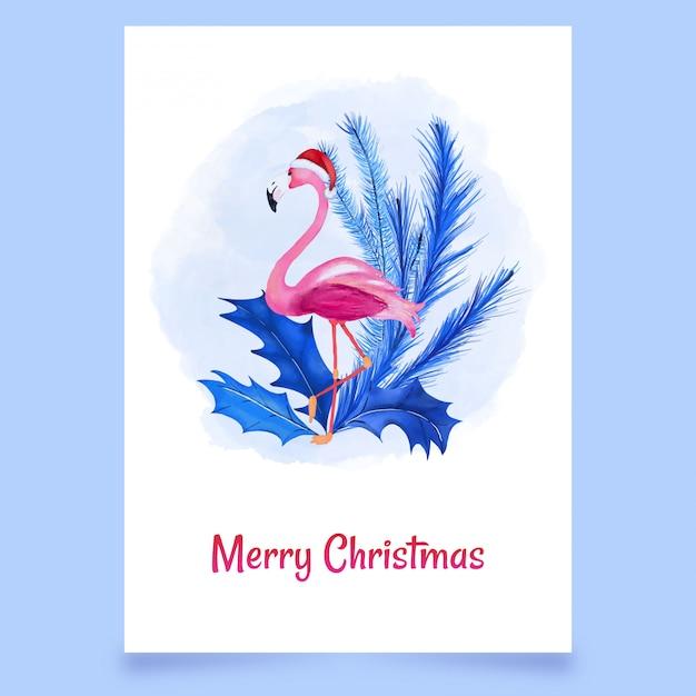 Kartenschnee der frohen weihnachten mit rosa flamingo und blättern Premium Vektoren