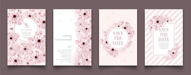 Kartenstapel mit kirschblüte. Premium Vektoren