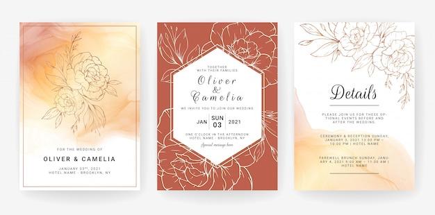 Kartenstapel mit linie kunstblumen. hochzeitseinladungs-schablonendesign von luxusgoldblumen und -blättern mit aquarellhintergrund Premium Vektoren