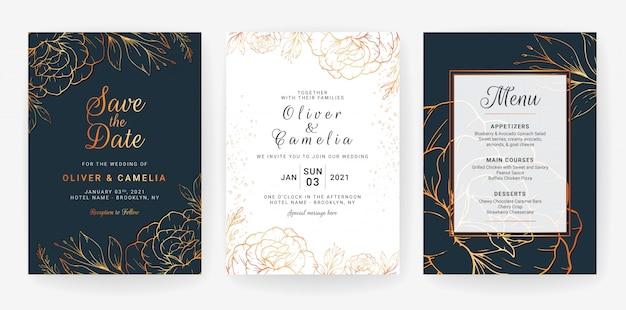 Kartenstapel mit linie kunstblumen. marineblauhochzeitseinladungs-schablonendesign von luxusgoldblumen und -blättern Premium Vektoren