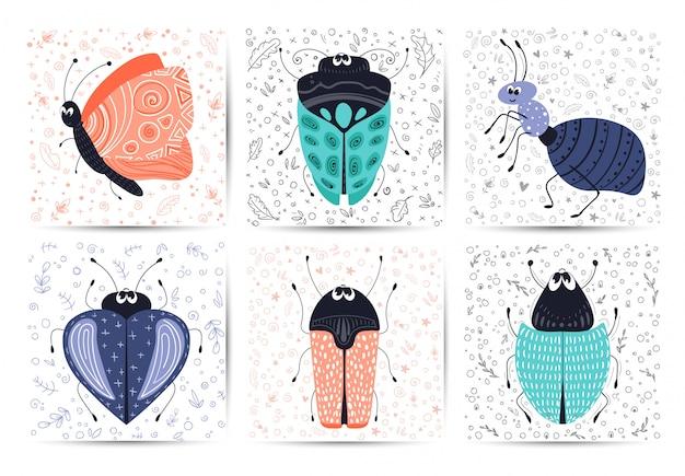 Kartenstapel mit vektorkarikaturwanze oder -käfer, flach Premium Vektoren