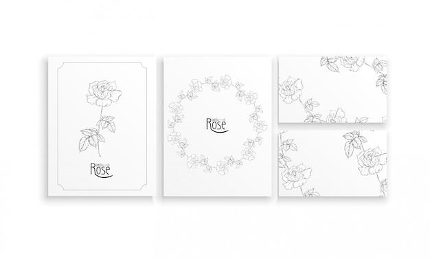 Kartenstapel und visitenkarten mit grafischen blumengestecken mit blumen von rosen Premium Vektoren
