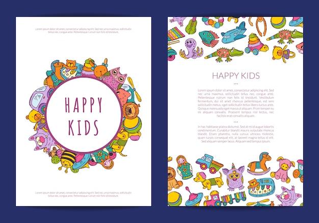 Kartenvorlage mit platz für text und handgezeichnete kinderspielzeug Premium Vektoren
