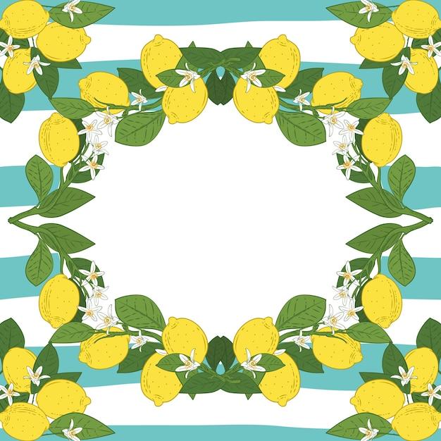 Kartenvorlage mit text. tropischer zitrusfruchtzitrone trägt rahmen auf linearem hintergrund des weinlesetürkis-blaus früchte. vektor-illustration Premium Vektoren