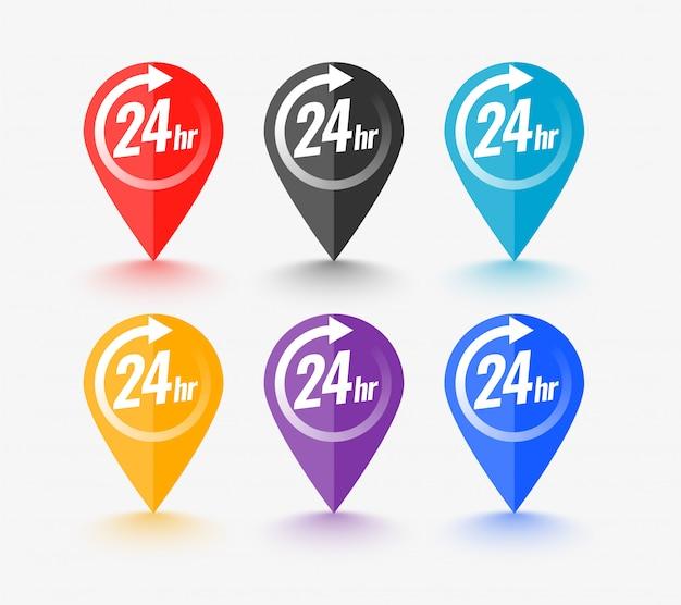 Kartenzeiger mit 24-stunden-service-symbol Kostenlosen Vektoren