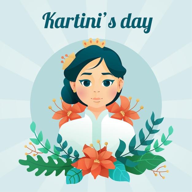 Kartini tapferer weiblicher held mit blumen Kostenlosen Vektoren