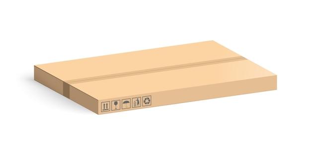 Karton lokalisiert auf weißem hintergrund. layoutboxen für die lieferung. Premium Vektoren