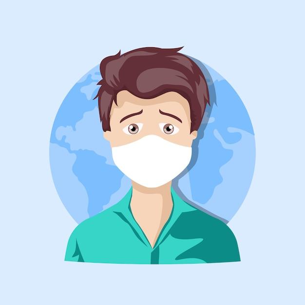 Kartonentwurf des jungen mannes mit maske Premium Vektoren