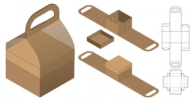 Kartonverpackung gestanzte schablonendesign. 3d-modell Premium Vektoren