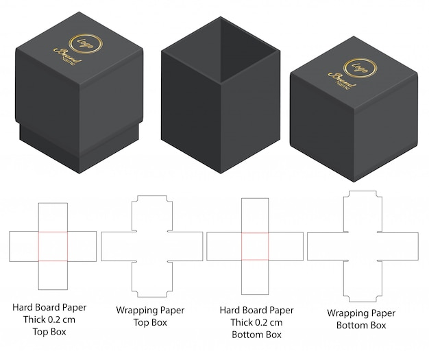 Kartonverpackung gestanzte schablonendesign Premium Vektoren