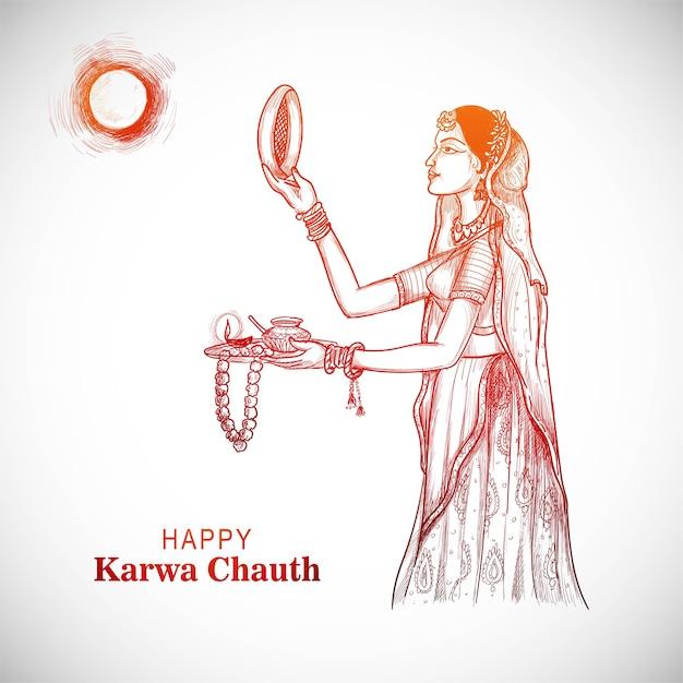 Karwa chauth festivalkarte mit inderin Kostenlosen Vektoren