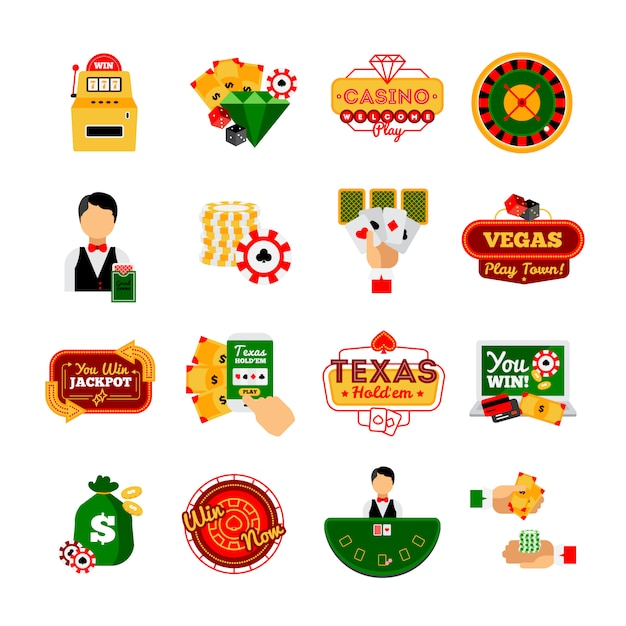 Kasino-dekorativer ikonensatz Kostenlosen Vektoren