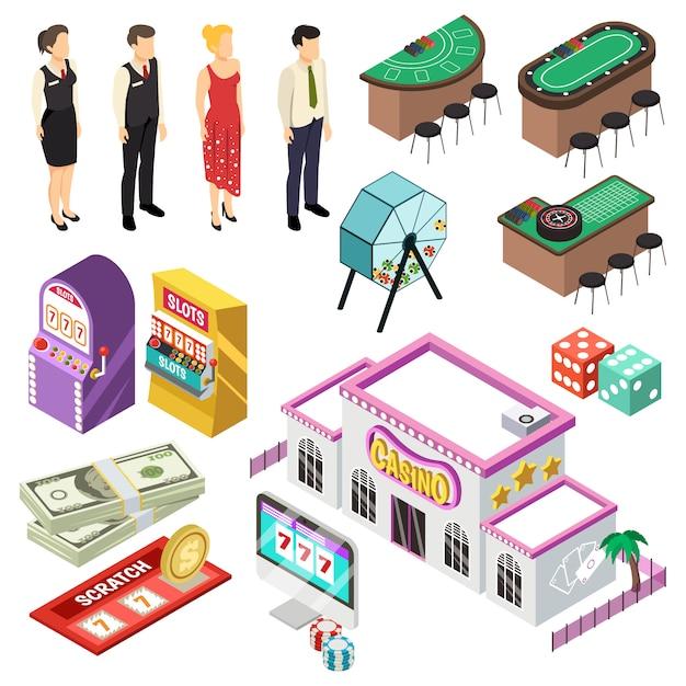 Kasino-isometrie-set Kostenlosen Vektoren