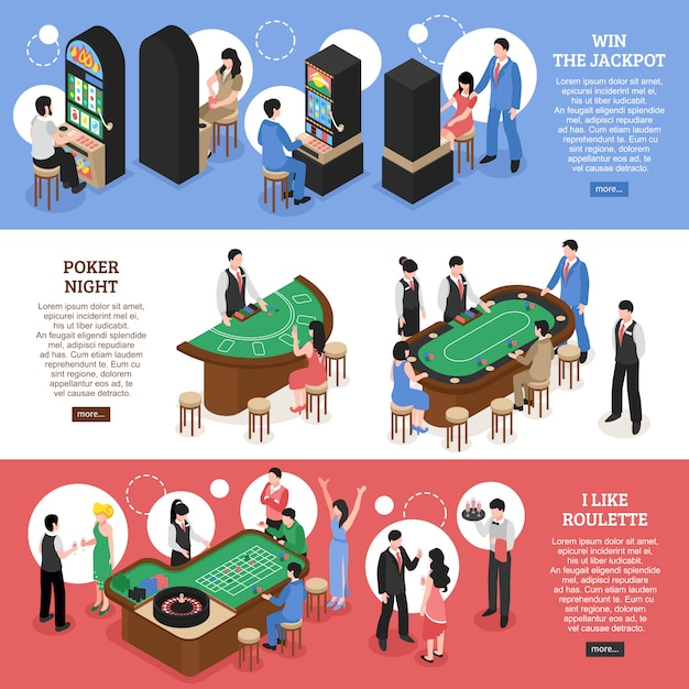 Kasino-isometrische horizontale fahnen Kostenlosen Vektoren