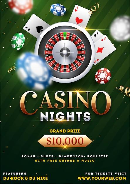 Kasino-nachtpartei-schablonendesign Premium Vektoren